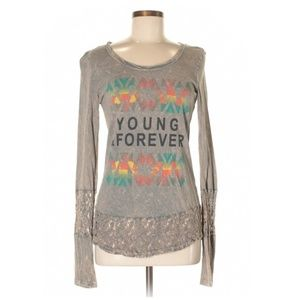 Daytrip Young Forever Lace Trim Long Sleeve Shirt